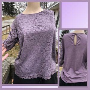 🆕List! AEO Lavender Purple Lace Top! EUC!